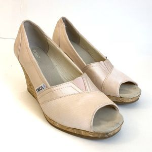 TOMS Pink Peep Toe Cork Wedge Heels